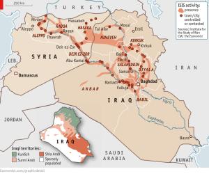 Zona di influenza dell'ISIS.