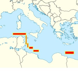 Ipotesi di difesa: le aree rosse sono le zone pattugliate